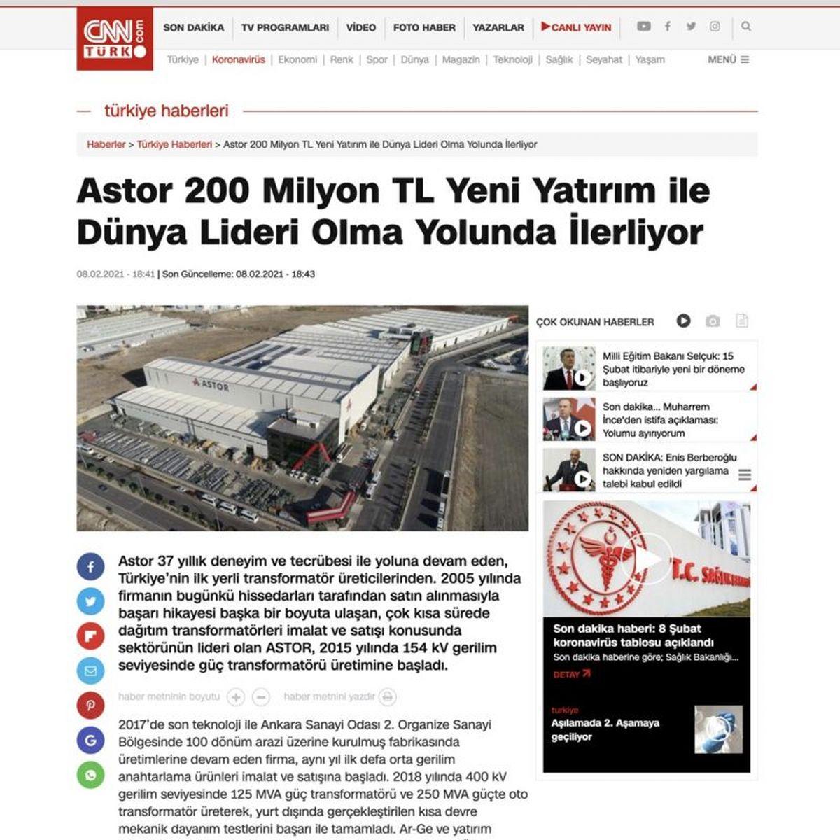 ASTOR Astor yeni fabrikası ve dev yatırımı ile basında büyük yankı uyandırdı.